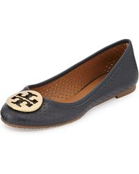 Tory Burch Reva Perforated Leather Ballet Flat - Lyst