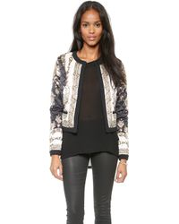 Marchesa Voyage - Scarf Quilted Jacket  Black Treasure Scarf - Lyst