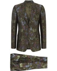 Valentino Brocade Butterfly Print Suit - Green