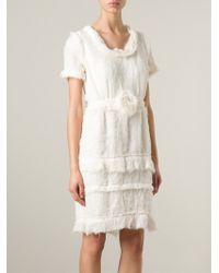 Lanvin Frayed Chiffon Dress - Lyst