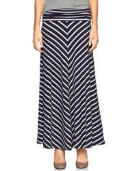 Gap Chevron Stripe Foldover Maxi Skirt - Blue