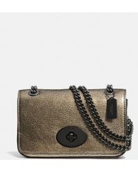 Coach Mini Chain Crossbody in Metallic Leather - Lyst