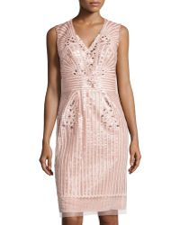 Carolina Herrera Floral Sequined Tulle Cocktail Dress - Lyst
