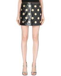 Marc Jacobs Jewel-Embellished Leather Skirt - Lyst