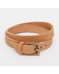 ASOS | Double Wrap Bracelet In Light Tan | Lyst