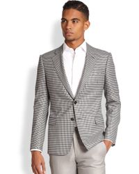Armani Houndstooth Wool Sportcoat - Lyst