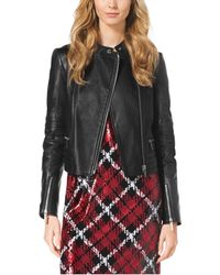 Michael Kors Quilted Leather-Paneled Moto Jacket - Lyst
