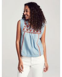 Faherty Brand Embroidered Washed Chambray Top - Blue
