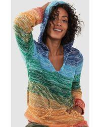 Faherty Brand Rainbow Sweater Poncho - Blue