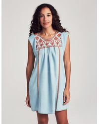 Faherty Brand Queenie Embroidered Washed Chambray Dress - Blue