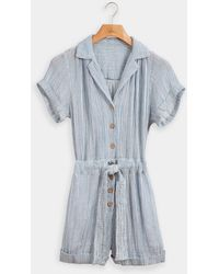 Faherty Brand Izzy Striped Cotton Doublegauze Romper - Blue