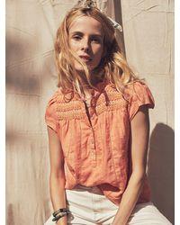 Faherty Brand Kaia Embroidered Linen Top - Orange