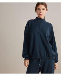 Falconeri Felpa in Cashmere Ultrasoft con Mezza Zip - Blu