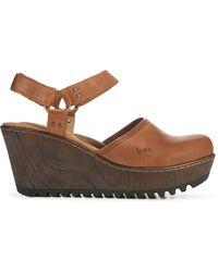 b.ø.c. Rina Wooden Clog Wedge Shoes - Brown