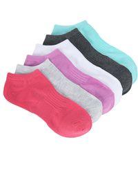 Steve Madden Marled Pastel No Show Socks 2 Pairs Light Grey and Hot Pink