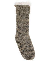BEARPAW 1 Pack Sherpa Slipper Socks - Gray