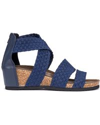 Muk Luks Elle Wedge Sandals - Blue