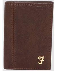 Farah Ashington Grain Leather Tri Fold Wallet - Brown