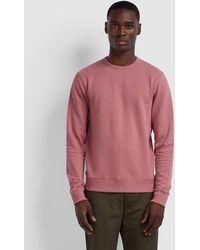 Farah Tim Cotton Crew Neck Sweatshirt - Pink