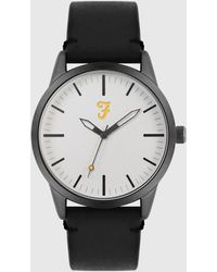 Farah Classic Watch With Leather Strap - Black