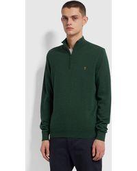 Farah Redchurch Cotton Quarter Zip Jumper - Green