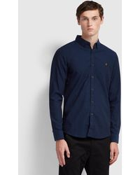 Farah Steen Slim Fit Brushed Cotton Oxford Shirt - Blue