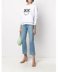 Pinko ラインストーン ロゴ スウェットシャツ - ホワイト
