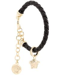 Versace Woven Medusa Charm Bracelet - Black