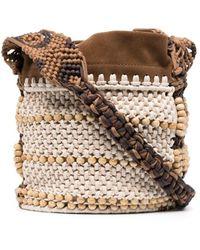 Alberta Ferretti Woven Satchel Bag - Natural
