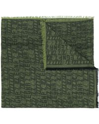 Z Zegna Logo Embroidered Scarf - Green
