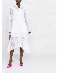 MSGM Платье С Кружевом И Длинными Рукавами - Белый