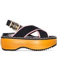 Marni Crisscross Wooden-platform Slingback Sandals - Black