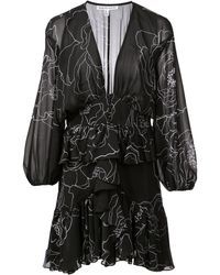 Shona Joy Floral Print Mini Dress - Zwart