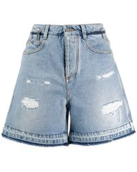 Ermanno Scervino Distressed Denim Shorts - Blue