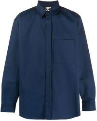 GR10K アニマルフリーレザーパネル シャツ - ブルー