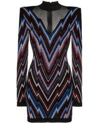 Balmain - Chevron Pattern Mesh Panel Knit Mini Dress - Lyst