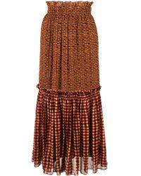 Proenza Schouler Crepe Chiffon Tiered Skirt - Geel