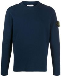 Stone Island Knitted Logo Jumper - Blue