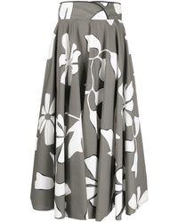Gentry Portofino Floral-print Midi Skirt - Grey