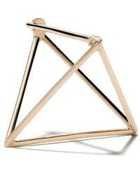 Shihara Orecchino Triangle 3D in oro giallo 18kt (20mm) - Metallizzato