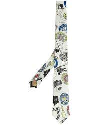 Burberry - Slim Cut Emblem Print Silk Tie - Lyst