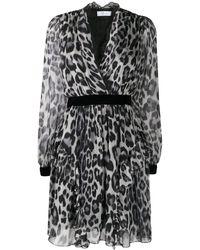 Blumarine レオパード ラップドレス - ブラック