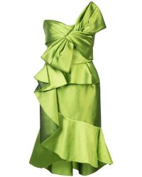 Marchesa Strapless Cocktail Dress With Bow - Green