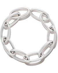 AS29 18kt White Gold 10x2 Links Long Oval Short Chain Retrofitting Bracelet - Multicolor