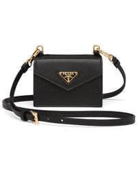 Prada Shoulder Strap Cardholder - Black