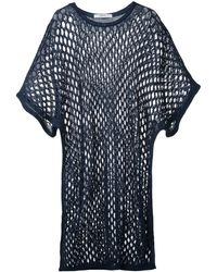 Julien David Long open knit top - Blu
