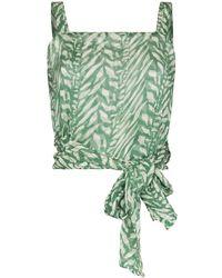 Cloe Cassandro Helena Tiger Print Top - Green