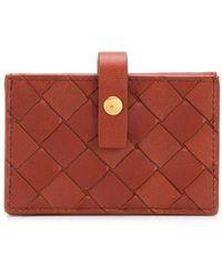 Bottega Veneta Intrecciato Weave French Wallet - Brown