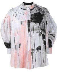 Alexander McQueen Trompe-l'œil Rose-print Shirt - Grey