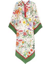 Gucci Платье-кимоно С Цветочным Принтом - Многоцветный